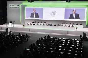 Junta general anual de Schaeffler AG de 2019, celebrada en el centro de convenciones Frankenhalle de Núremberg, Alemania.