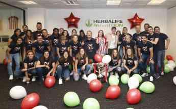 Jugadoras del Atlético de Madrid Femenino en la sede de Herbalife Nutrition