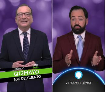 Los presentadores Juanjo de la Iglesia (izda.) y Toni Cano, en dos momentos del concurso en los que se muestran las dos campañas