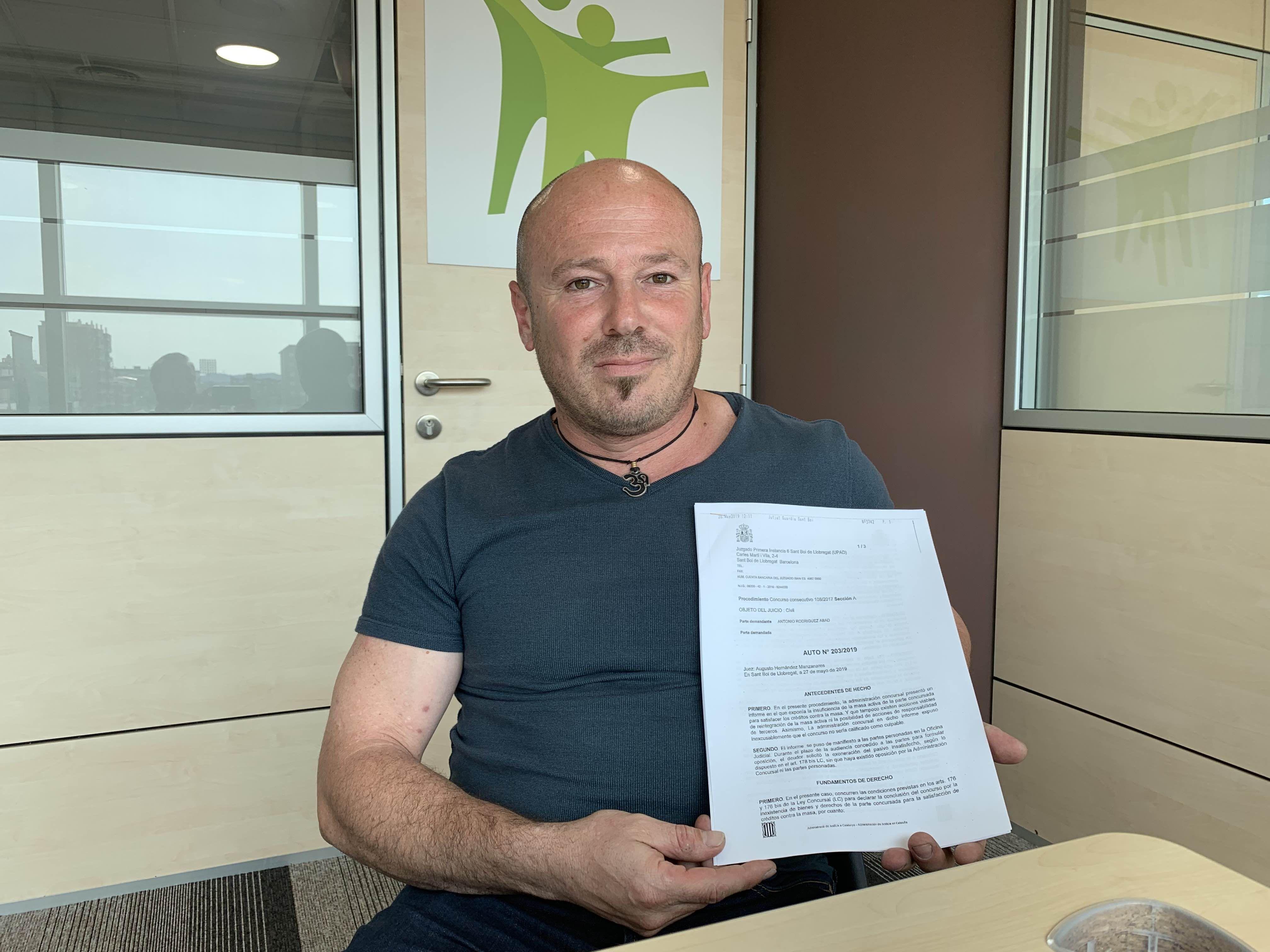 Antonio recibe la cancelación de su deuda de más de 50.000 eur c