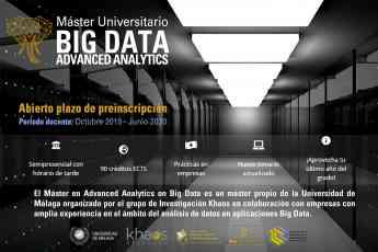 La UMA abre el período de preinscripción de la IV Edición del Máster Advanced Analytics on Big Data