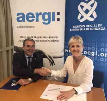 El presidente fundador de AERGI, Josean Fernández, y la presidenta del COEGI, Pilar Lecuona, durante la firma del acuerdo.