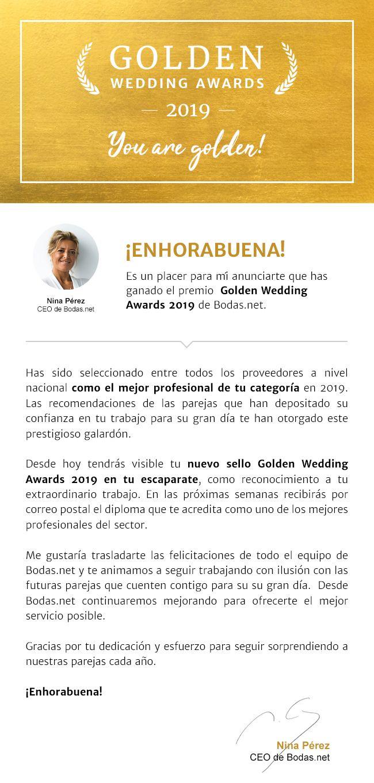 Fotografia Premio Golden Wedding Awards 2019