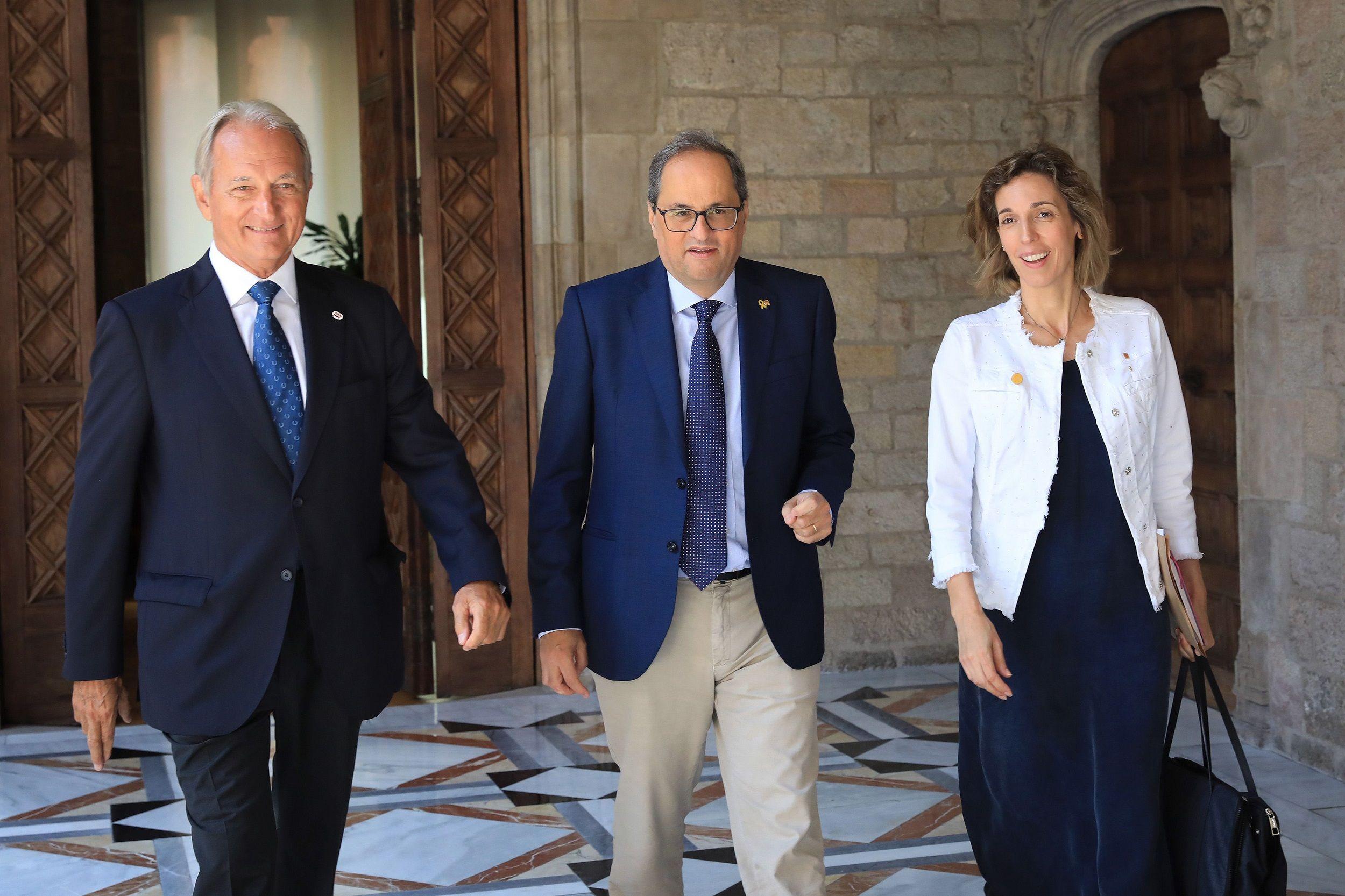 Foto de Torra, Chacón y Vall en el Palau de la Generalitat