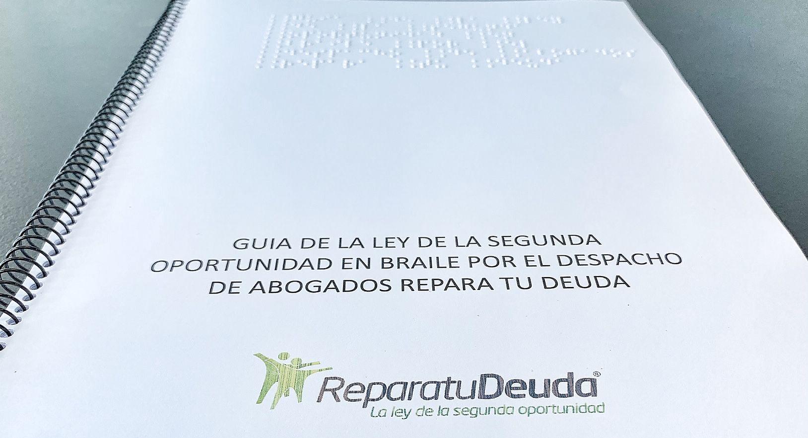 Fotografia Guia de la ley de la segunda oportunidad en Braille