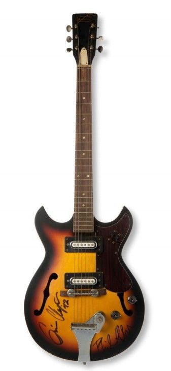 Fotografia Guitarra firmada por Eric Clapton y Phill Collins