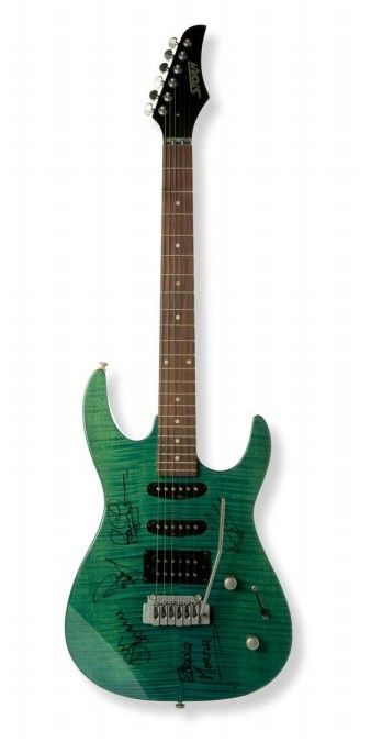 Fotografia Guitarra firmada por Ian Guillian, Roger Glover, Don