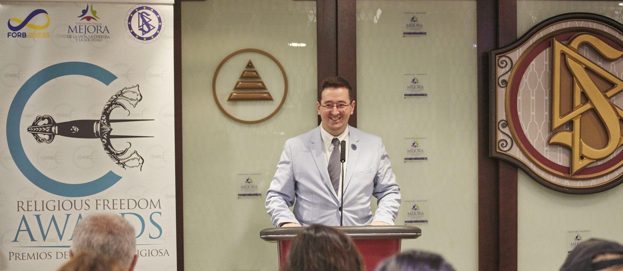 Fotografia Ivan Arjona en la entrega de premios