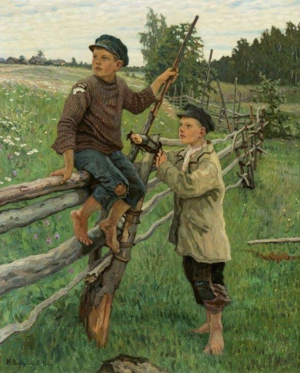 Fotografia Dos niños en el campo - Óleo sobre lienzo