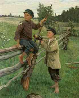 Dos niños en el campo - Óleo sobre lienzo