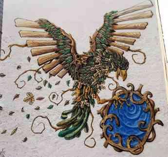 Mural decorativo de pájaro