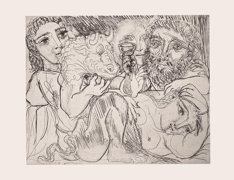 Foto de Minotauro, bebedor y mujeres © Sucesión Pablo Picasso.
