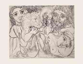 Minotauro, bebedor y mujeres © Sucesión Pablo Picasso. VEGAP. Madrid, 2020