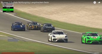 El Porsche 718 Cayman GT4 de Giti en 10ª lugar en la clase CUP3 en la primera carrera de la serie Digital Nürburgring Endurance