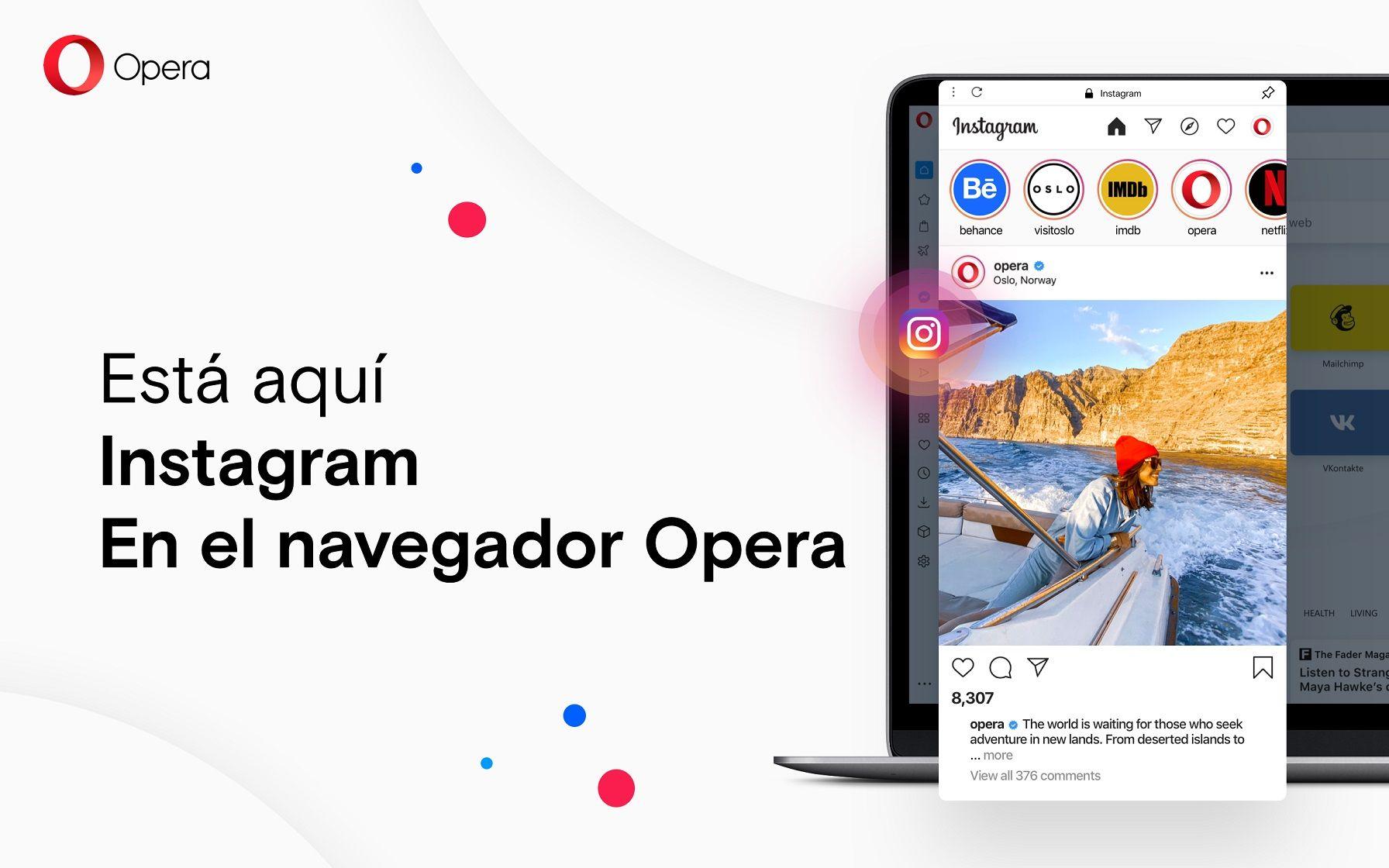 Opera para PC se desmarca del resto de navegadores con un acceso integrado a Instagram