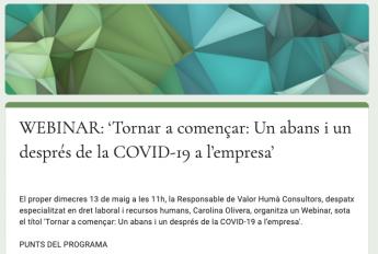 Valor Humà prepara un webinar para analizar el antes y el después del Covid-19