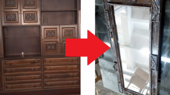 Foto de Espejo realizado con un armario de comedor