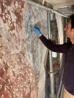 Consolidada y restaurada la parte de pintura mural del presbiterio de la Iglesia de Santiago que aún se conserva