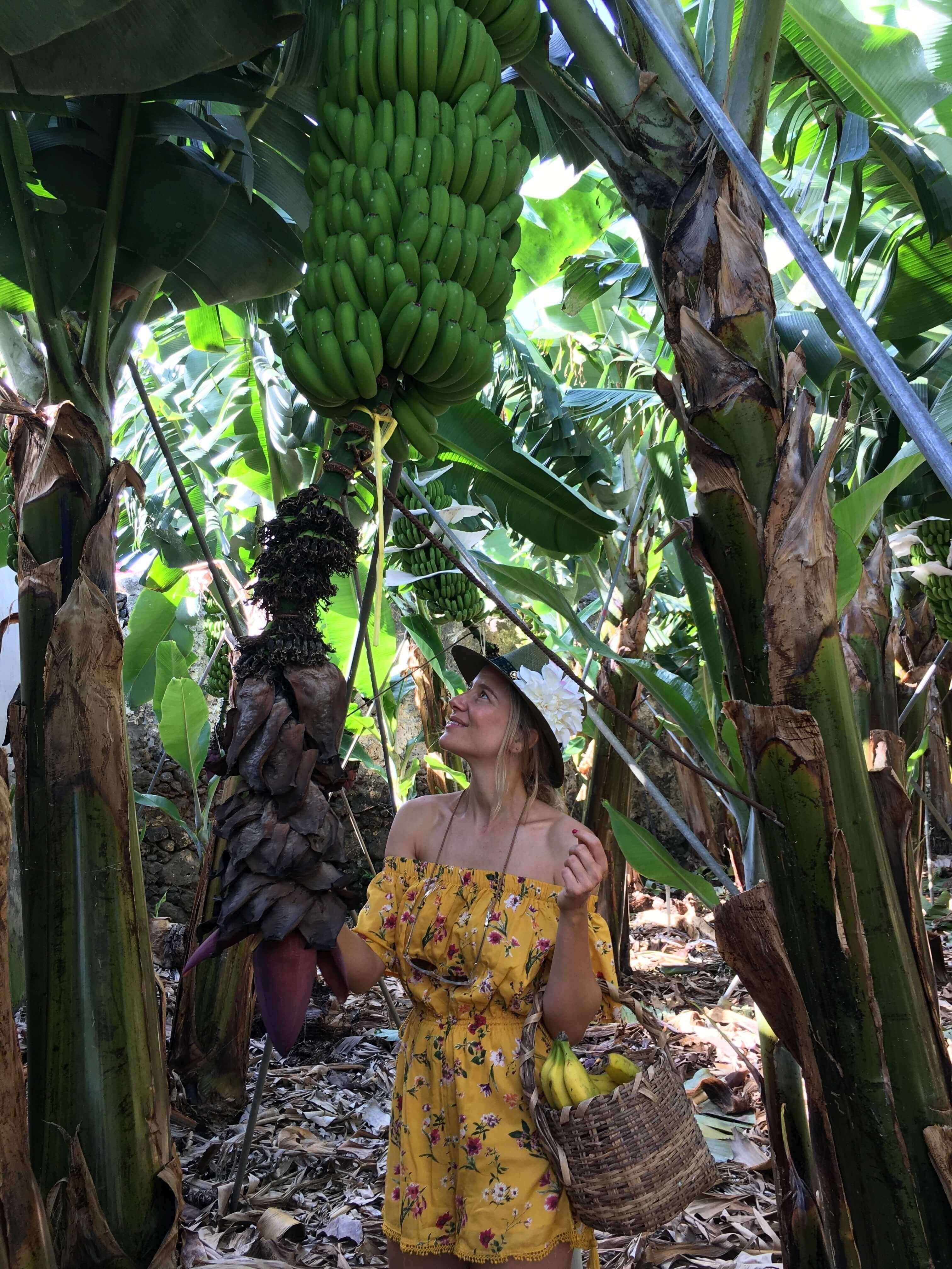 Foto de María de León en una plantación de plátano en La Palma.
