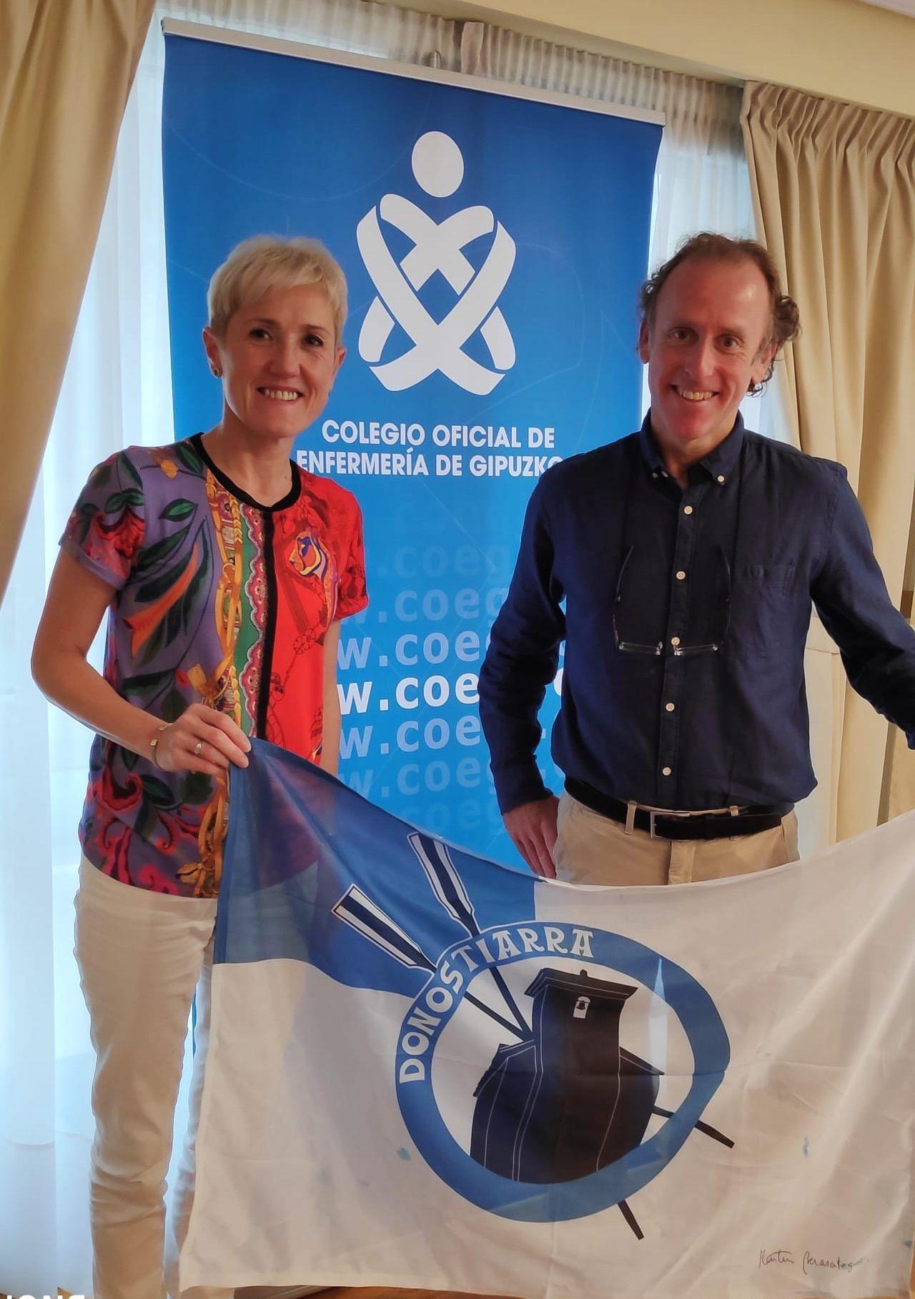 Foto de  Pilar Lekuona, presidenta del COEGI y Andoni Echeveste,