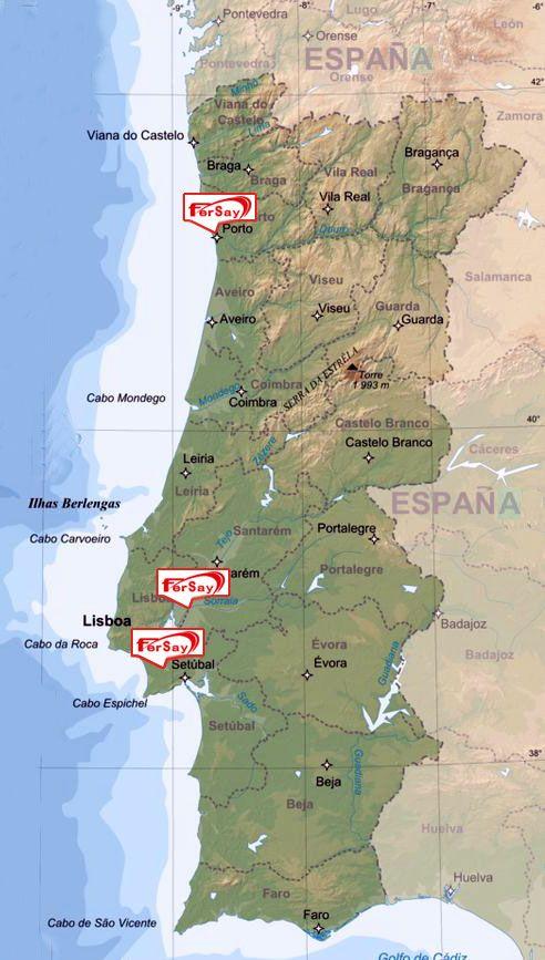 Foto de Mapa de la presencia de Fersay en Portugal