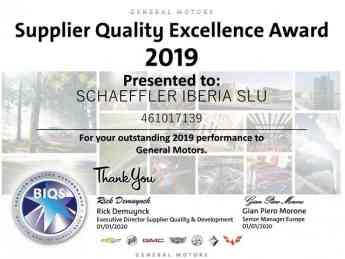 GM Supplier Award de Schaeffler Iberia S.L.U.