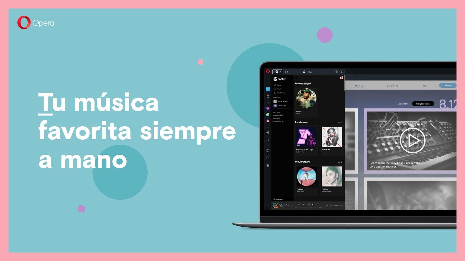 Foto de Opera incorpora a su navegador accesos directos a Spotify,