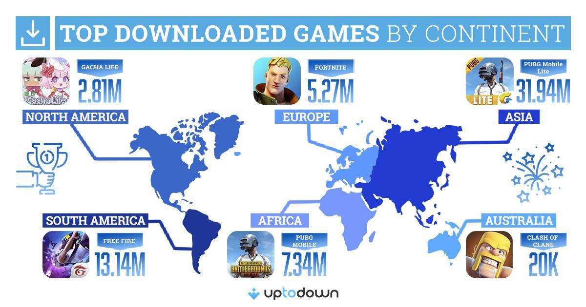 Foto de Infografía con el juego más popular en cada continente