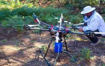 Tecnico ajustando Drone Velutina