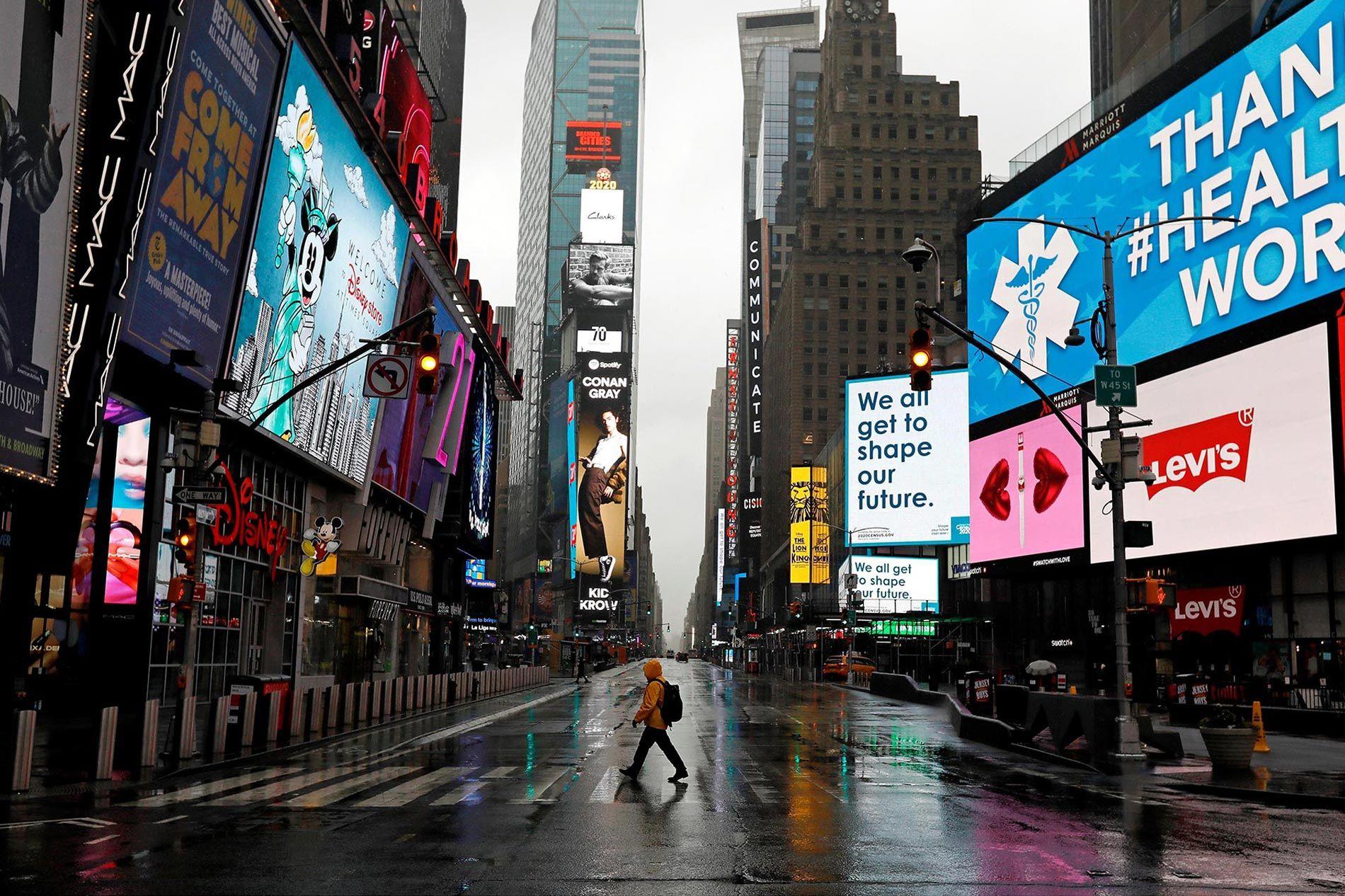 Foto de Times Square en marzo de 2020