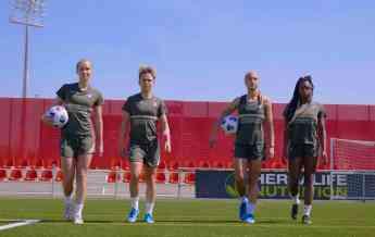 Las jugadoras del Atlético de Madrid Femenino se enfrentan en la Herbalife Teqball Cup