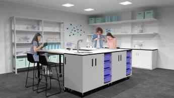 Foto de Espacio de ciencia con muebles FluAp de Grup Efebé